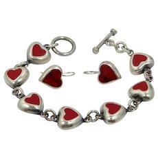 Sterling Silver Red Enamel Heart Motif Bracelet & Earrings Set