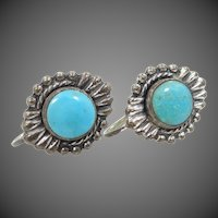 1940's Sterling Silver Southwestern Turquoise Earrings