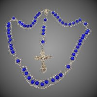 "Unusual Cobalt Blue Glass ""Ladder"" Style Catholic Rosary"