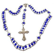 "Unusual Cobalt Blue Glass ""Ladder"" Style Catholic Rosary"