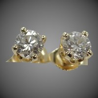 14k Gold 0.50 Carat Diamond Stud Earrings