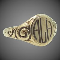Victorian 14k Gold Shell Signet Ring
