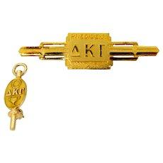 2 Delta Kappa Gamma Fraternity Pins 10k Gold & GF