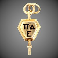 10k Gold Pi Delta Epsilon Fraternity / Sorority Key Charm 1940