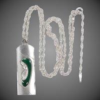 Green Enamel 800 Silver Religious Medal