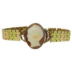 Tri Color 10k Gold and Gold Filled Cameo Bracelet