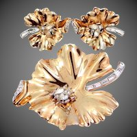 Trifari Gold Washed Leaf with Ladybug Pin and Matching Earrings