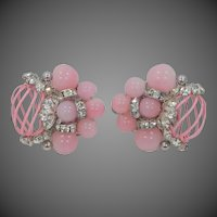 Vendome Pastel Pink Beads and Pink Enamel Clip On Earrings