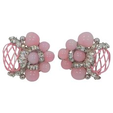 96bbaa353 Vendome Pastel Pink Beads and Pink Enamel Clip On Earrings