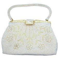 Vintage Opalescent Glass Beaded Purse Clutch Handbag - Red Tag Sale Item