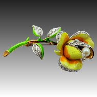 """Extraordinary Sterling Vermeil and Fine Enamel Rose Pin Signed """"V"""""""
