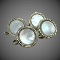 4 Belais 14k White Gold Front Mother of Pearl Shirt Buttons