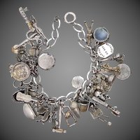 1930's Sterling Charm Bracelet with 34 OLD Charms Some Moveables & Unusual