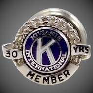 14k White Gold Kiwanis 30 Year Member Collar Pin