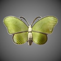 Ivar T. Holth Guilloche Enamel Sterling Silver Butterfly Pin