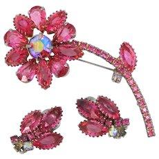 D & E Juliana Pink Flower Pin and Matching Earrings