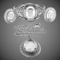 Whiting and Davis Intaglio Glass Cameo Parure Bracelet, Necklace & Earrings