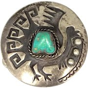 Monroe Ashley Navajo Sterling Turquoise Buckle With Turkey Motif