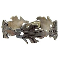 Heavy SOLID Sterling Silver Mexico Mid Century Bracelet
