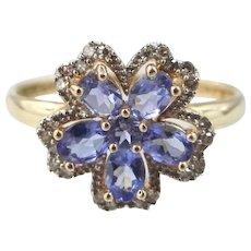 14k Gold Tanzanite & Diamonds Five Petal Flower Ring