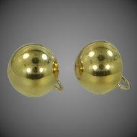 14k Gold Screw Back Button Earrings