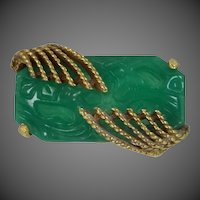 Goldette Molded Emerald Green Glass Pin