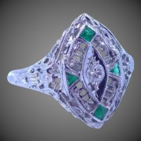 Art Deco 18k White Gold Filigree Diamond & Emeralds Ring Wedding | Engagement | Anniversary