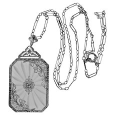 Art Deco 10k White Gold Filigree Rock Crystal & Diamond Necklace with Original Chain