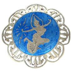 Large Siam Sterling Silver Blue Enamel Pin