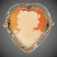 Unusual Heart Shaped Carved Shell Cameo Pin / Pendant with Filigree Frame