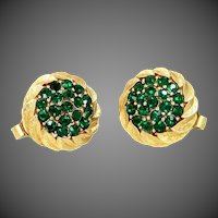 Signed Trifari Emerald Green Rhinestone Retro Era Clip on Earrings