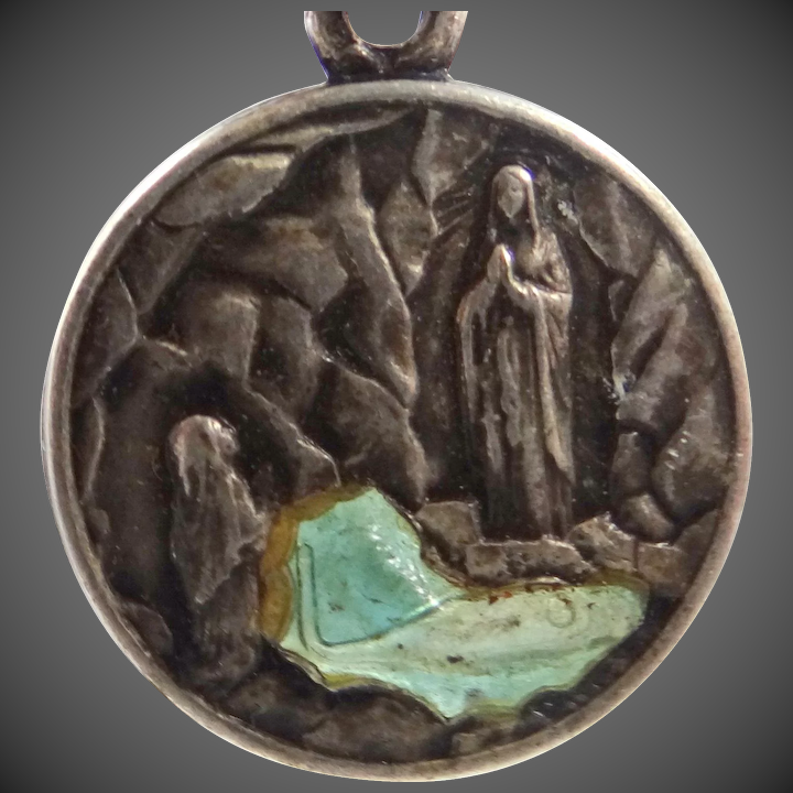Unusual 1958 Lourdes Medal with Genuine Holy Water