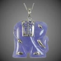 Carved Lavender Jade & Sterling Figural Elephant Necklace