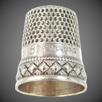 "Unusual Signed Stern Bros. Sterling Silver Size 8 ""Diamond Motif"" Thimble"