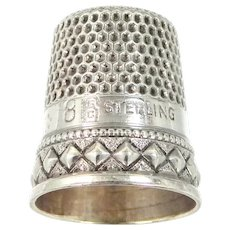 """Unusual Signed Stern Bros. Sterling Silver Size 8 """"Diamond Motif"""" Thimble"""