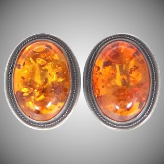 Vintage Sterling Silver & Baltic Amber Clip on Earrings