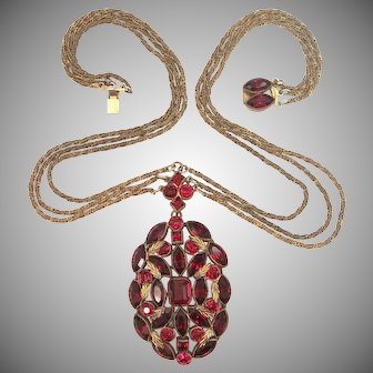 1930's Gilt Brass & Ruby Red Glass Draping Necklace