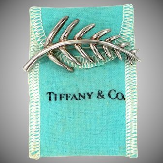 1996 Tiffany & Co. Sterling Silver Branch or Leaf Pin with Pouch