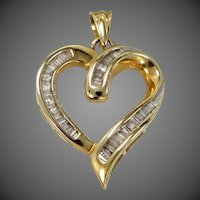 Heavy 14k Gold & Genuine Diamonds Heart Pendant