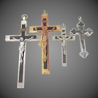 Reliquary Crucifix plus 3 Antique German Nun's Pectoral Crosses