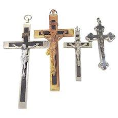 Reliquary Crucifix plus 3 Antique German Nun's Pectoral Crosses