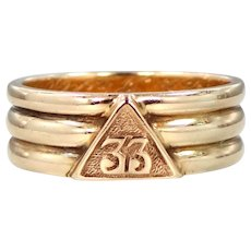 14k Solid Gold Masonic 33rd Degree Scottish Rite of Free Masonry Ring