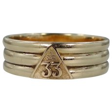 14k Solid Gold Masonic 33rd Degree Scottish Rite of Free Masonry Ring