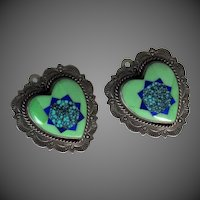 Pretty Inlaid & Spider Web Turquoise R.A. Lewis Sterling Clip On Earrings