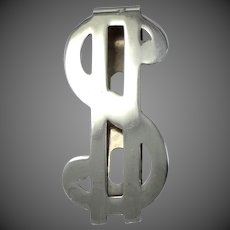 Solid Sterling Silver Dollar Sign Money Clip