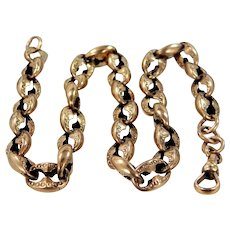 Victorian 9k Rose Gold Finely Etched Watch Chain