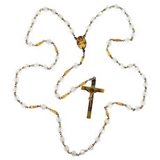 Unusual Art Deco Gold Filled Glass Crystal Rosary Our Lady of Mt. Carmel