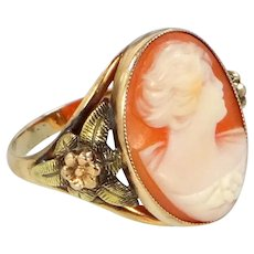 1930's 10k Gold Yellow & Rose Gold Shell Cameo Ring