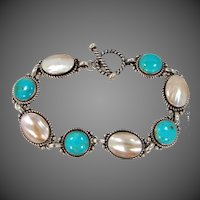 Relios Sterling Silver Turquoise & Mother of Pearl Bracelet Promise | Purity | Good Fortune