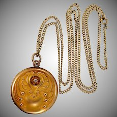 Wightman and Hough Co. (W & H CO.) Gold Filled Art Nouveau Locket and Chain
